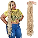 ZRQ 36 Inch New Faux Locs Crochet Braids Hair 3 Packs Pre-looped Soft Goddess Faux Locs Crochet Hair For Black Women Natural Blonde Synthetic Hair 21 Strands Afro Roots Hair Extensions 613#