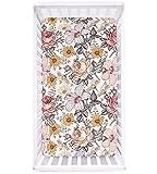 Crib Sheet Jersey Cotton, Fitted Cotton Baby & Toddler Universal Crib Sheets , Floral Crib Sheet Set