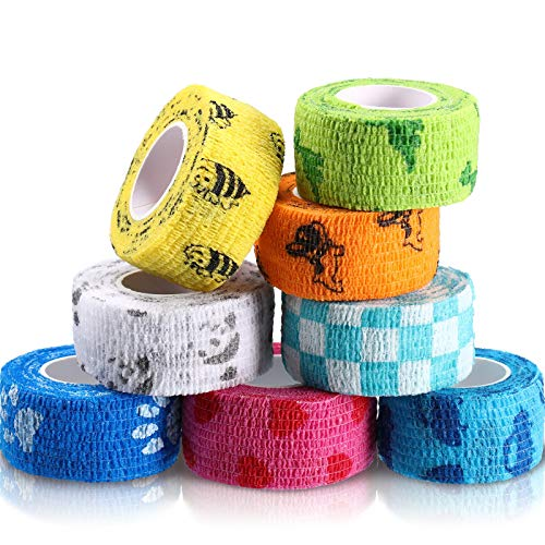 8 Rolls Self Adhesive Wrap Bandage Self Adherent Cohesive Tape Stretch Non-Woven Tape Bandage Wrap for Person or Pet Cat Dog Horse and Other Animals, 1 Inch x 5 Yards