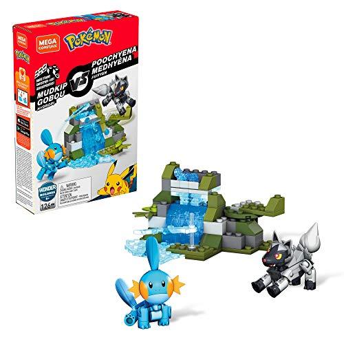 Mega Construx Pokemon Figuras Mukdip vs. Poochyena Juguete de construcción (Mattel GKY93)