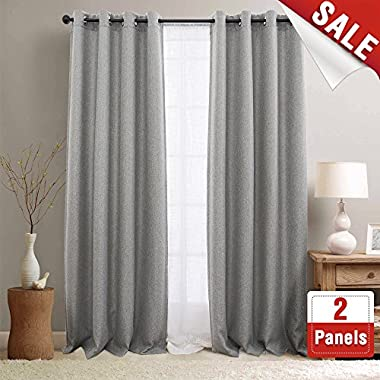 jinchan Textured Linen Curtain Panels Bedroom Drapes Living Room Drapes Thermal Insulated Room Darkening Window Treatment Set, Grommet Top (2 Panels, L95-Inch, Soft Gray)