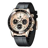 Pagani Design Men's Chronograph Watch,Japan VK63 Movement, Synthetic Sapphire Glass, 100m Waterproof, Rubber Strap,Fashion Quartz Wrist Watches for Men (Gold)