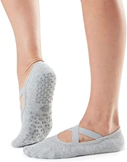 Tavi Noir Chloe Fashion Criss-Cross Grip Socks for Barre,  Pilates and Yoga