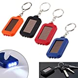 Easyinsmile 4pcs Random Color Solar Power 3 LED Light Keychain Torch Flashlight for Outdoor Emergency Light