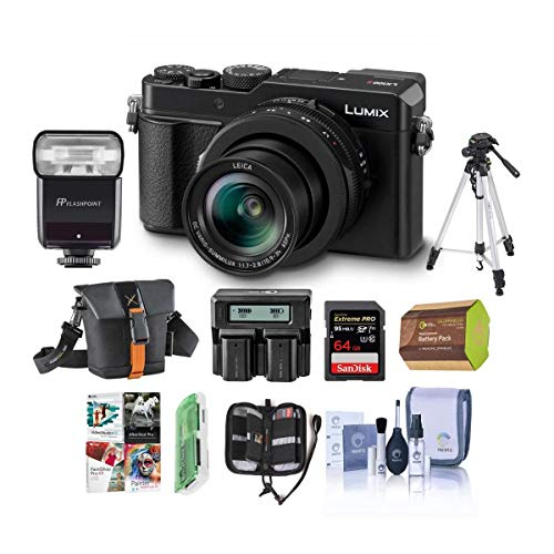 Panasonic Lumix DC-LX100 II Digital Point and Shoot Camera with 24-75mm Leica DC Lens, Black - Bundle with Camera Case, 64GB SDHC U3 Card, Tripod, Zoom Flash, Dual Charger, Software Package and More