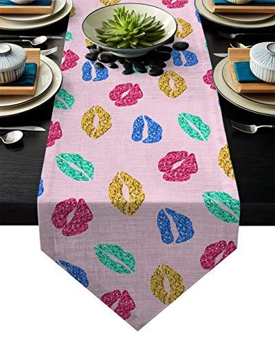 Camino de Mesa Colorido Sexy Labio Fondo Rosa Imprimir Casa de Campo Camino de Mesa Camino de Mesa Floral,de Gran tamaño,Lavable,fácil tocador,Bufandas