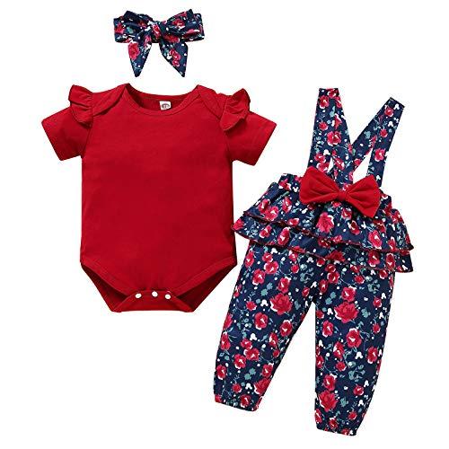 Conjunto de Traje de Niña Bebé Recién Nacido Mameluco Floral Correa Pantalones con Diadema 3 Piezas