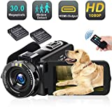 Video Camera Camcorder with LED Fill Light, 2020 Updated 1080p 30MP 30FPS FHD