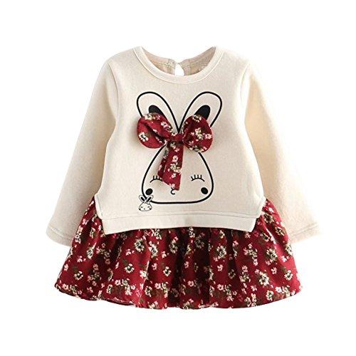 BOBORA Robe Bébé Fille, Petites Filles Enfants Robe de Lapin en Coton à Manches Longues avec Ourlet Floral pour l'automne Hiver