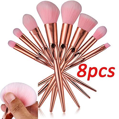 LUOSI Pinceaux de Maquillage/Brosses 8 pièces cosmétiques Professionnels Groove Eye Shadow Fondation Pinceau de Maquillage Sourcils Pinceau Fard à Joues (Color : Pink)