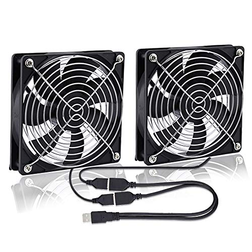 GDSTIME USB 120mm Computer Fan DC 5V 120 x 25mm 2 In 1 Case Fan Cooler Dual PC Cooling Fan 1500 RPM 56.8 CFM with Metal Grill For PS4 Xbox Laptop TV Box Router Cooling