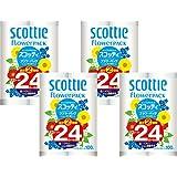 【ケース販売】 スコッティ フラワーパック 2倍巻き(12ロールで24ロール分) トイレット 100mシングル ×4パック入り