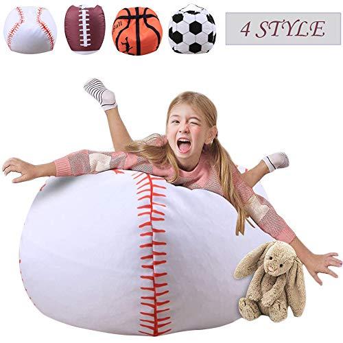Pouf da 38' in tessuto morbido a forma di fagiolo con contenitore per animali di stoffa, per bambini, in poliestere liscio, da baseball
