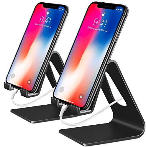 COOLOO Cell Phone Stand,?2 Pack? Mobile Phone Anti-Skid Holder, Cradle, Dock Compatible Android Smartphone, Phone 11 Pro Xs Max Xr X 8 7 6 6s Plus 5s, Accessories Desk - Black