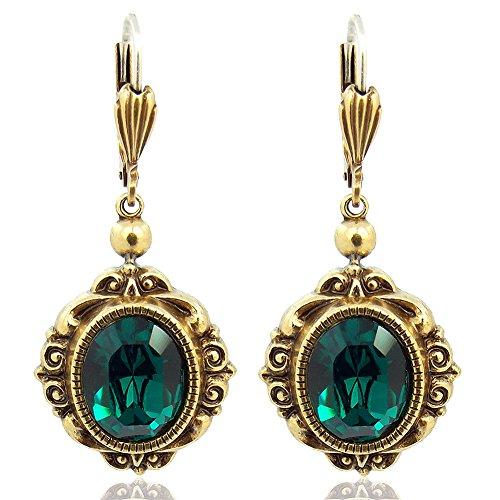 Vintage Ohrringe mit Kristallen von Swarovski® Grün Antik Gold NOBEL SCHMUCK