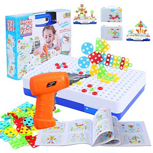 FORMIZON Tablero de Mosaico Infantiles, 151 Piezas Juguetes Montessori Puzzles 3D Mosaicos Infantiles con Taladro Eléctrico Desmontable, Juegos Educativos Regalos Juguetes para Niños de 3 4 5 Años (B)