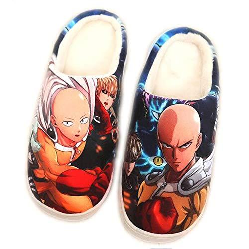 CAISHEND Zapatillas de Invierno cálido para Mujer Hombres japonés Anime One Punch Man Indoor Al Aire Libre Anti-Skid Sole Piel Forrada Slip On Shoes,42/44 EU
