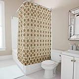 daoyiqi Sepia-Taupe Mokka geometrische Blumen Duschvorhang für Badezimmer, Baddekoration, heller Stoff, Duschvorhang mit 12 Haken, mehrfarbig, 200 x 182 cm