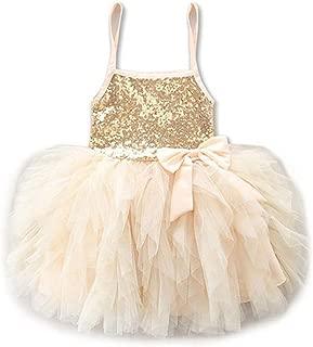 WARMSHOP Girls Summer Sweet Dress for 0-4T Sleeveless Sequins Dance Party Tutu Sundress