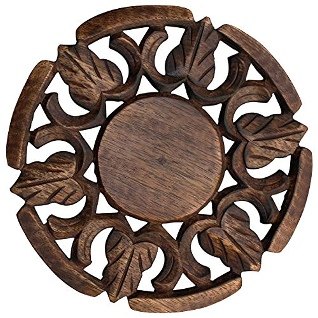 ETROVES 8.1 Inch Wooden Trivet for Hot Dishes Hand-Carved Table Decor Trivet in Mango-Wood - Dark-Brown - Eco-Friendly - Home and Dining-Table Essentials