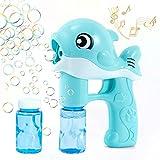 Maquina Burbujas Niños,Máquina de Burbujas Máquina Automática Burbujas de Jabon con Luces de Música Soplador de Pompas Bubble Machine para Juguete de Baño, Fiesta, Boda-2*50 ml Pompas Jabon (azul)