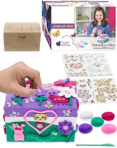 Purple Ladybug Joyero para Niñas! Kit de Manualidades para Niñas con Joyero de Madera, 5 Arcillas de Colores Herramienta de Esculpir y 4 Hojas de Gemas Brillantes Niña