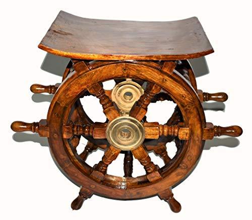 Noor Handicrafts - Tavolino decorativo in legno per la casa, motivo: pirata in ottone anticato (12 pollici)