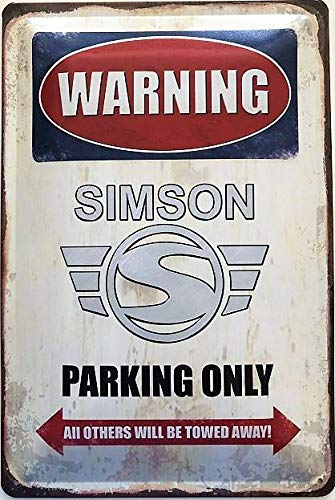 Deko7 Blechschild 30 x 20 cm Warning Simson Parking Only