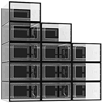 12 Pack Shoe Storage Box Clear Plastic Stackable Shoe Organizer for Closet Space Saving Foldable Shoe Containers Bins Holders  Black