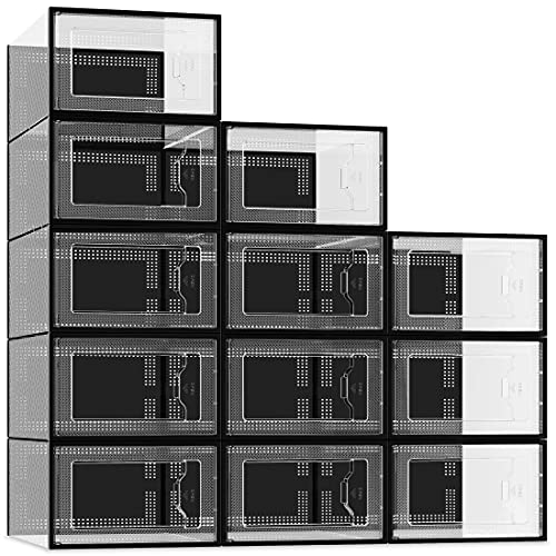 12 Pack Shoe Storage Box, Clear Plastic Stackable Shoe Organizer for Closet, Space Saving Foldable Shoe Containers Bins Holders (Black)