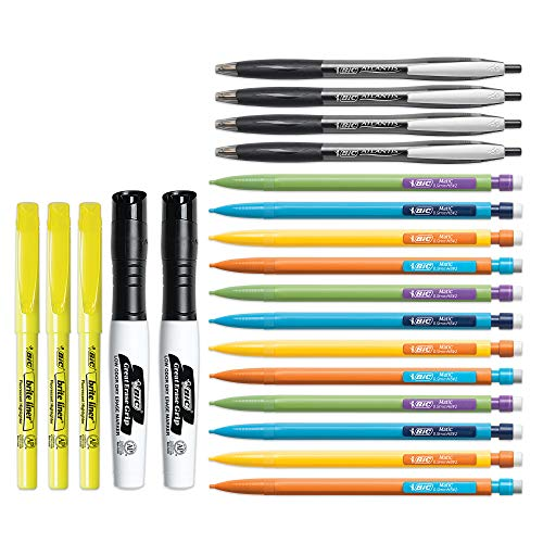 BIC Student Kit, Assorted High School Writing Essentials, 21-Count - Includes Ball Pens, Mechanical Pencils, Highlighters, Dry Erase Markers