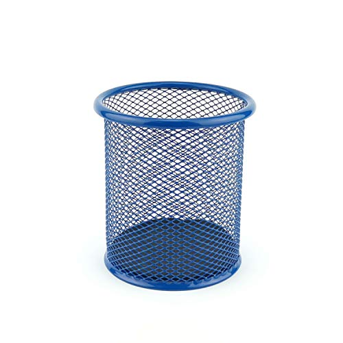 LEVIATAN Portapenne in rete metallica   Portamatite da scrivania   di forma rotondo   Ø 91mm   colore: Blu navy