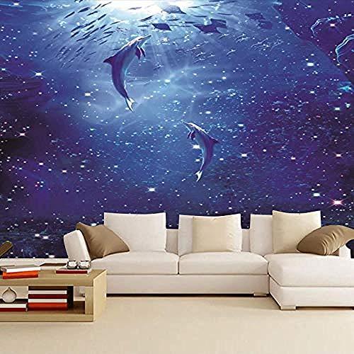 3D Wallpapers Benutzerdefinierte Traum Ozean Dolphin Unterwasser Welt Wandbild Thema Kinderzimmer Hintergrund Tapet Wanddekoration fototapete 3d Tapete effekt Vlies wandbild Schlafzimmer-400cm×280cm