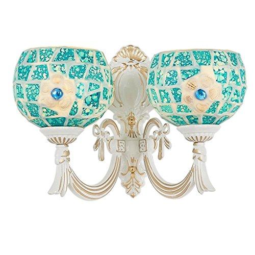 YLCJ Mediterrane wandlamp lichtspiegel American Pastoral Simple Creative slaapkamer met licht badkamerspiegel met kastlicht (Tama Nil: W35CM)