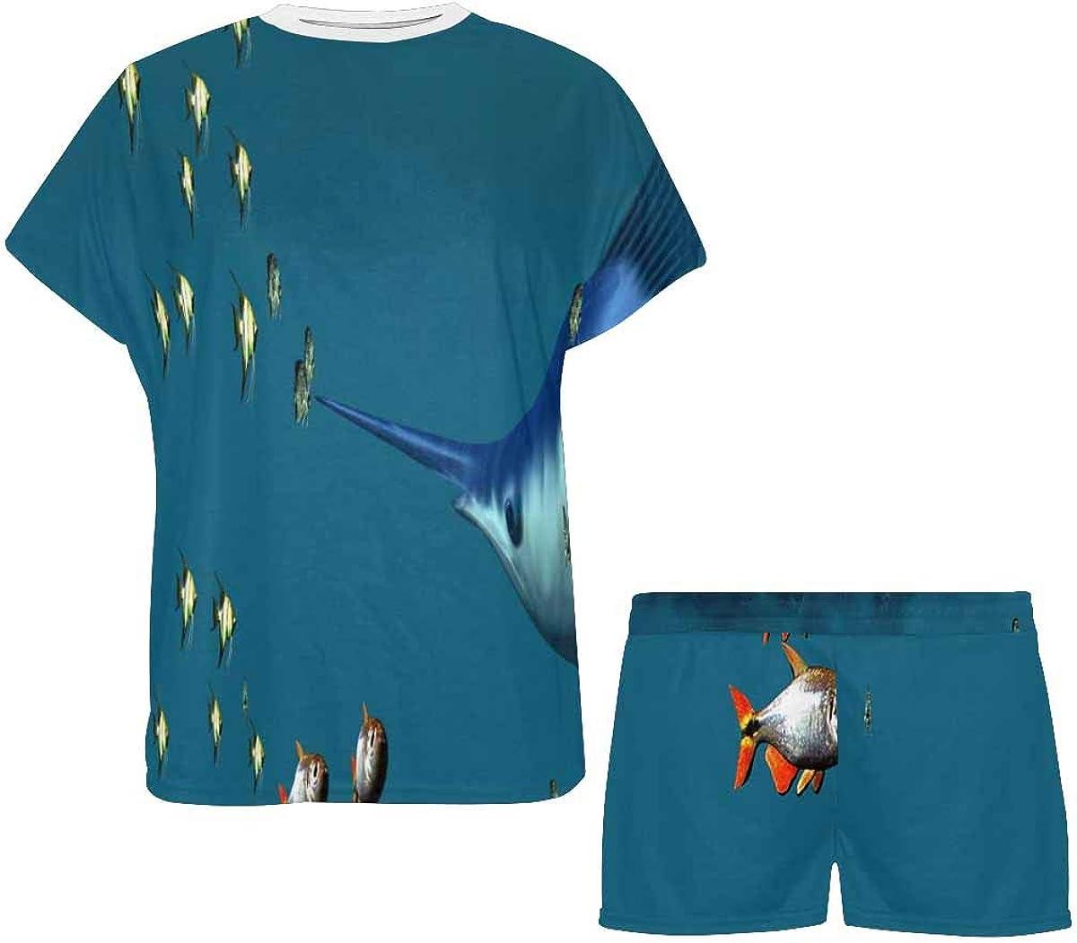 INTERESTPRINT Small Fish and a Blue Marlin Women's Pajamas Short Sets Round Neck Short Sleeve Sleepwear