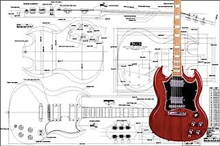 Plan of Gibson SG - Guitarra eléctrica (impresión a escala completa)