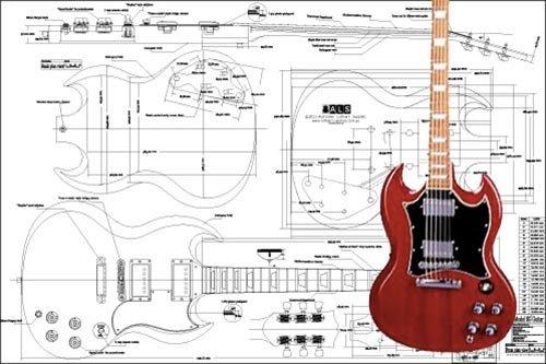 Plan de Gibson SG guitarra eléctrica–escala completa impresión