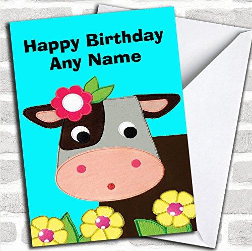 Koe Aqua verjaardagskaart met envelop, kan volledig gepersonaliseerd worden, snel en gratis verzonden