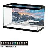 wwwhsl Mountain,Aquarium Poster,Alpine Clouds Foggy,Underwater World W24xH11.8