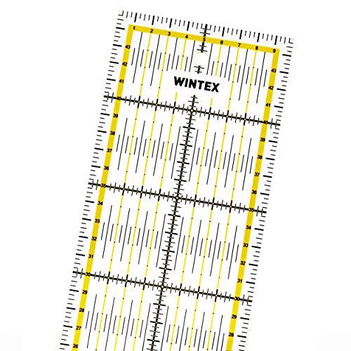 WINTEX Universal-Lineal 10 cm x 45 cm, transparent, 2-farbiger Druck mit cm-Raster und Winkelanzeige in 30°/45°/60°- Rollschneider-Lineal, Patchwork-Lineal, Bastel-Lineal – ideal zum Nähen und Basteln