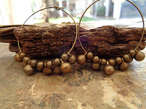 Pendientes tribales BOHO GYPSY HOOP de Bronce - pendientes con campanas