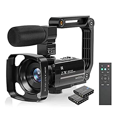 Camcorder Video Camera 2.7K Ultra HD YouTube Vlogging Camera 36M 30FPS 16X Digital Zoom Camcorder 3.0 Inch 270° Rotatable Screen with Microphone Handheld Stabilizer, Remote Control, Lens Hood by LVQUONE