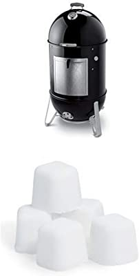 Weber 731001 Smokey Mountain Cooker 22-Inch Charcoal Smoker, Black and Lighter Cube Bundle