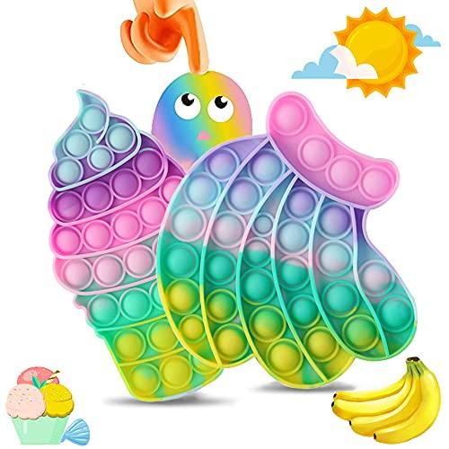 SPECOOL 2 Pack Pops Bubble Fidget Toy, Fidget Toys per Bambini Adulti, Bubble Popper Fidget Toy Squeeze Toys Giocattoli Antistress per l'autismo ADHD Bisogni Speciali (Arcobaleno)
