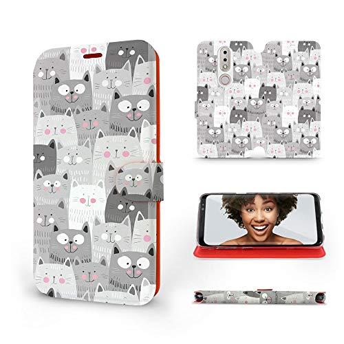 Mobiwear | Slim FLIP Hülle | Kompatibel mit Nokia 7.1, Made in EU handyhülle, Premium Schutzhülle, Transparent TPU Silicon, Book Style Hülle, Tasche - Graue Katzen