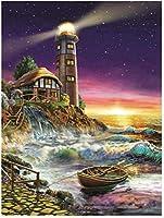 数字油絵 フレーム付き、数字キット塗り絵 手塗り DIY-大人の初心者の子供-夜空の灯台-40x50 cm