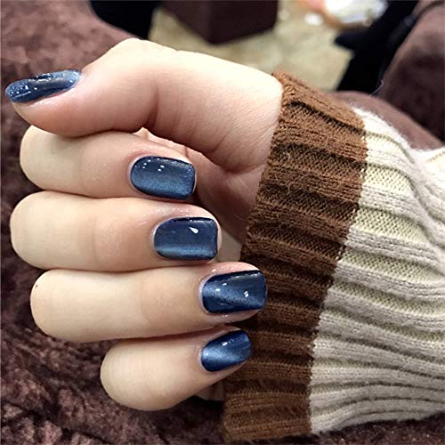 Aimimier 24Pcs Glitter Cat Eye False Nails Galaxy Full Cover Short Square Fake Nails with Glue Sticker Clip on Nails for Women and Girls (Deep blue)