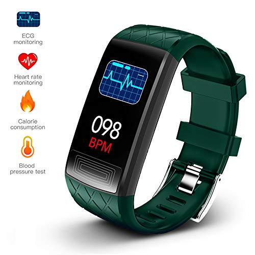 LCTS Fitness Smart-Armband-Mann-Sport-Uhr, Pulsdruck Blut-Sauerstoff-Health Monitoring Verschiedene Kommunikationsinformationen Reminders,Grün