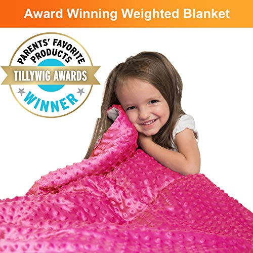 "Super Soft 5 Lbs Weighted Blanket for Kids with Removable Cover - 36"" x 48"" Children Heavy Blanket for Girls Between 40-60 lbs - Kids Weighted Blankets"