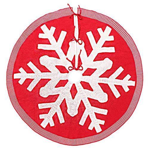 ZYYXB Falda de árbol de Navidad, 120 cm, cubierta de base de árbol de Navidad, con patrón de copos de nieve blancos para Año Nuevo, fiesta de Navidad adornos